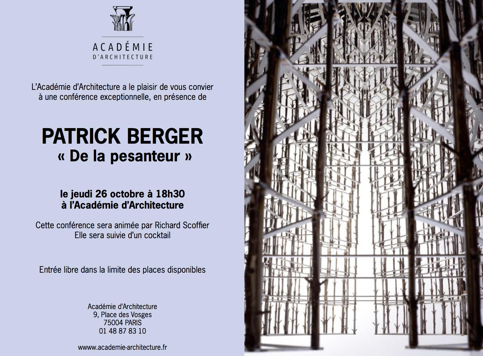 De la pesanteur conf rence de patrick berger jeudi 26 octobre 2 - Academie d architecture ...